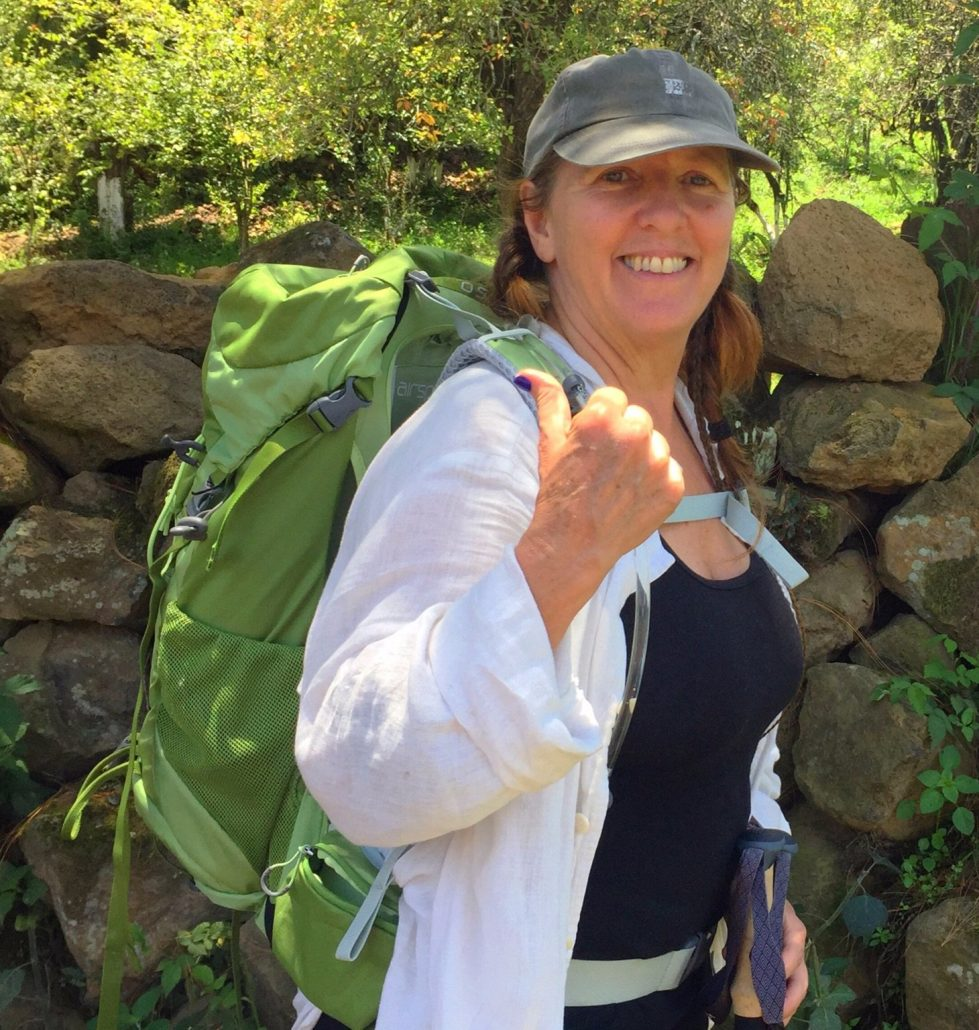 Jaime testing out new backpack for Le Puy Route of the Camino de Santiago.